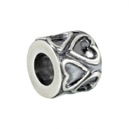 Sterling Silver Kera Bead With Hearts Ring Size 6