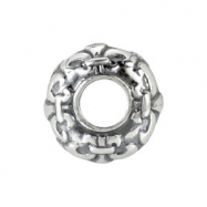 Sterling Silver Kera Fleur De Lis Accented Bead Ring Size 6