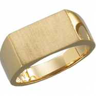 14K White Gold Gents Signet Ring With Brush Finished Top