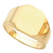 14K Yellow Gold Gents Octagon Signet Ring With Brush Finished Top