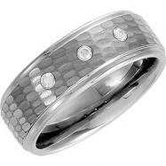 09.50 Ridged Band With Diamonds