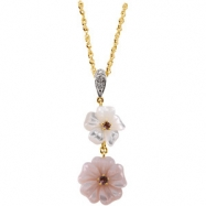 14K Yellow Gold Genuine Pink Touramline Mother Of Pearl And Diamond Pendant On 18 Solid Rope Chain""""