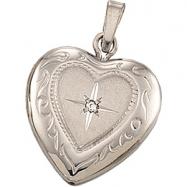 14K White Gold Heart Shaped Locket With Diamond