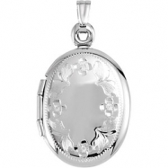 14K White Gold Oval Shaped Locket