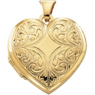 14K Yellow 20.75X21.00 MM Heart Shaped Locket