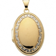 14K Yellow/White 25.75X18.50 MM Two Tone Oval Shaped Locket