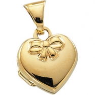 14K Yellow 10X10 Heart Embossed Bow Locket