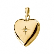 14K Yellow Gold Heart Locket With Diamond