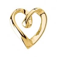14K White Gold Heart Shaped Pendant Slide