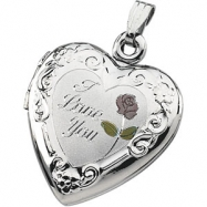 Sterling Silver Tri Color I Love You Heart Shaped Locket
