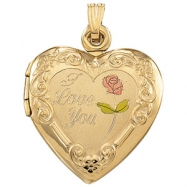 14K Yellow Gold Tri Color I Love You Heart Shaped Locket