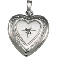 Sterling Silver Heart Shaped Locket With Diamond