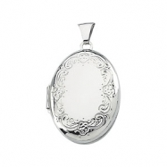 Sterling Silver 25.75X19.25 MM Oval Shaped Locket