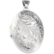 Sterling Silver 25.75X18.50 MM Oval Shaped Locket