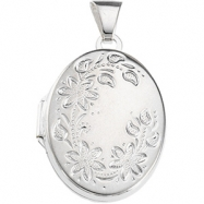 Sterling Silver 20.75X16.00 MM Oval Shaped Locket