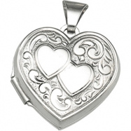 Sterling Silver 17.75X18.00 MM Heart Shaped Locket