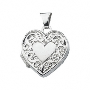 Sterling Silver 15.00X15.50 MM Heart Shaped Locket