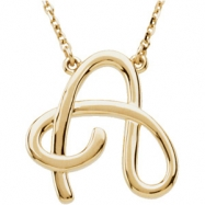 "14K A 16"""" Yellow Gold Fashion Script Initial Necklace"