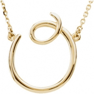 "14K O 16"""" Yellow Gold Fashion Script Initial Necklace"