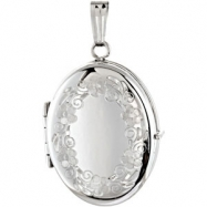 Sterling Silver Oval Locket With Engraved