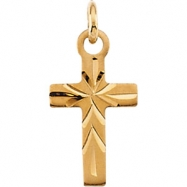 14K Yellow Gold Youth Cross Pendant With Chain