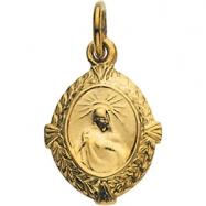 14K Yellow Gold Sacred Heart Of Jesus Medal