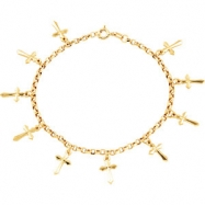 14K Yellow Gold 10 Cross Bracelet