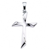14K White Gold 25.5x18 Cross Pendant