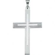 14K White Gold Extra Heavy Cross Pendant