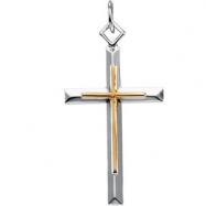 Sterling Yellow Filled Gold Streling Silver & Ygf Two Tone Cross Pendant