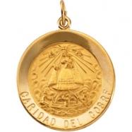 14K Yellow Gold Caridad Del Cobre Medal
