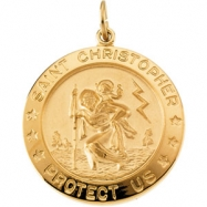 Yellow Gold Filled St. Christopher Medal With 24 Inch Chain