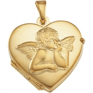 14K Yellow Gold Heart Shaped Locket With Angel
