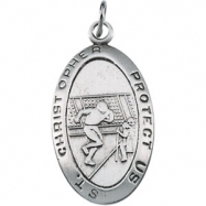 Sterling Silver St. Christopher Football Pendant With 24 Inch Chain