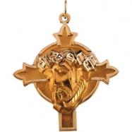 14K Yellow Gold Head Of Jesus With Crown Cross Pendant