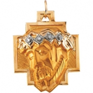 14K Yellow Gold Head Of Jesus Crown Cross Pendant With Diamond