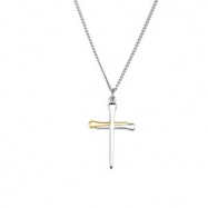 STER_YGP Two Tone Nail Cross Pendant