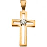 14K Yellow Gold Cross Pendant With Diamond