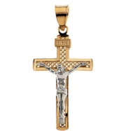 14K Yellow White Gold Two Tone Crucifix Pendant