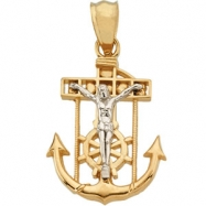 14K Yellow White Gold Two Tone Mariners Cross