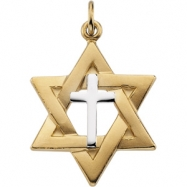 Sterling Yellow Filled Gold Ygf & Streling Silver Two Tone Star Of David Pendant