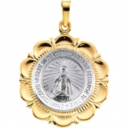 14K White Yellow Gold Two Tone Miraculous Medal