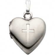 Sterling Silver 15.50 X 13.00 Heart Locket With Cross
