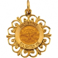 14K Yellow Gold 18.5 Rd Holy Spirit Pend Medal