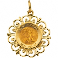 14K Yellow Gold 18.5 Rd St Francis Pend Medal