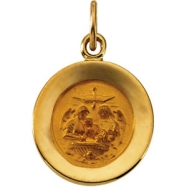14K Yellow Gold 11.5 Rd Baptism Pend Medal