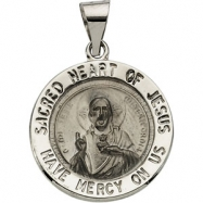 14K White Gold Hollow Round Sacred Heart Of Jesus Medal