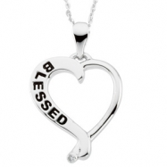 Sterling Streling Silver Blessed Heart Pendant With Cubic Zirconia And Ster Chain