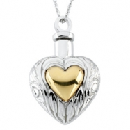 Sterling Streling Silver Ash Heart Pendant With Ster Chain