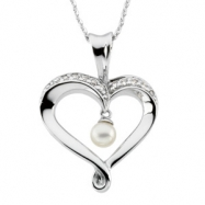 Sterling Streling Silver Heart Soul Pendant With Stones And Ster Chain